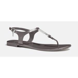 Coach Dark Gray Plato Jelly Thong Sandals 8B
